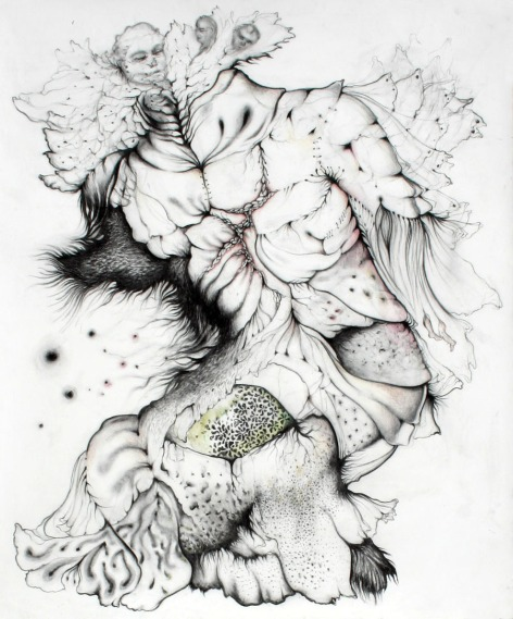 Last Armor, 2012, charcoal and watercolor on paper