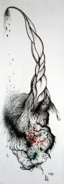 Luftmensch 2, 2009, 35x76cm, charcoal and watercolor on paper