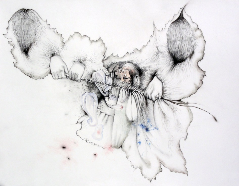 Peggy in the middle, 2008, charcoal watercolor and pen on paper