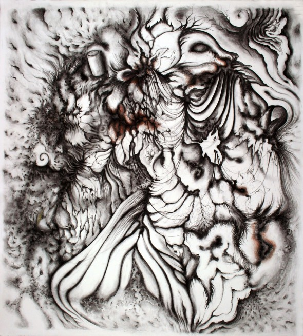 Bride, 2012, approx. 42x42 inch., 107x107  (colored charcoal on paper