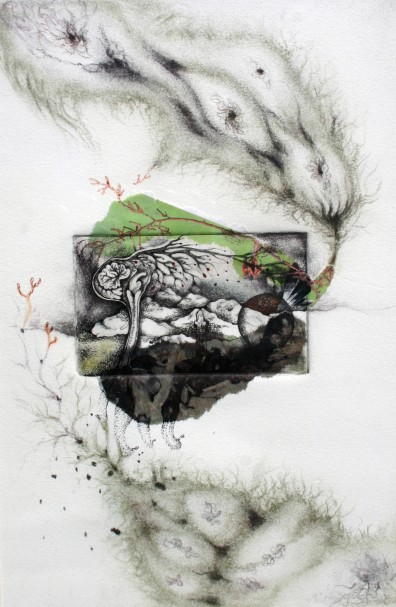 Mountains&Tides, 2011, chin collee etching, pen and colored charcoal on paper