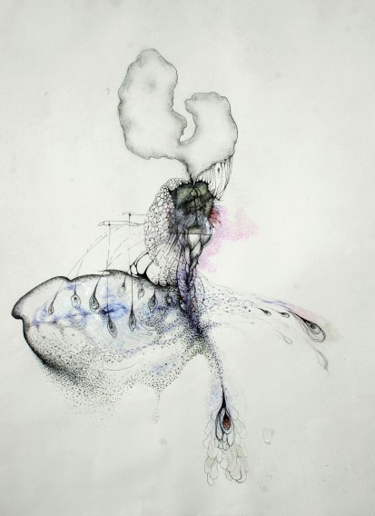 Untitled, 2008-11, chin collee etching, pen, watercolor, charcoal on paper
