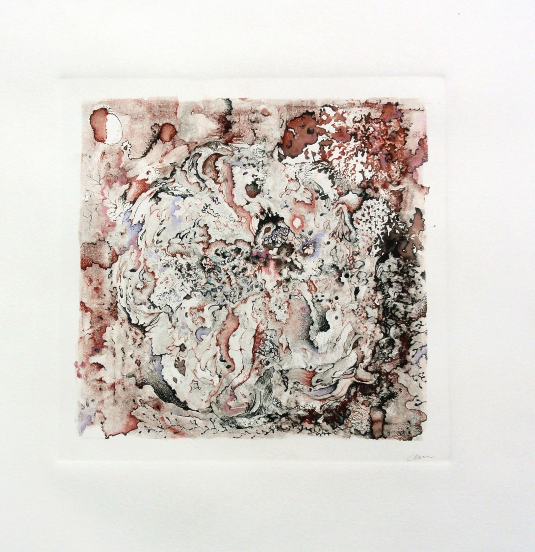 Creature Moon, 2012, 12x12inch., 30.5x30.5cm, Monoprint, pen and watercolor on paper
