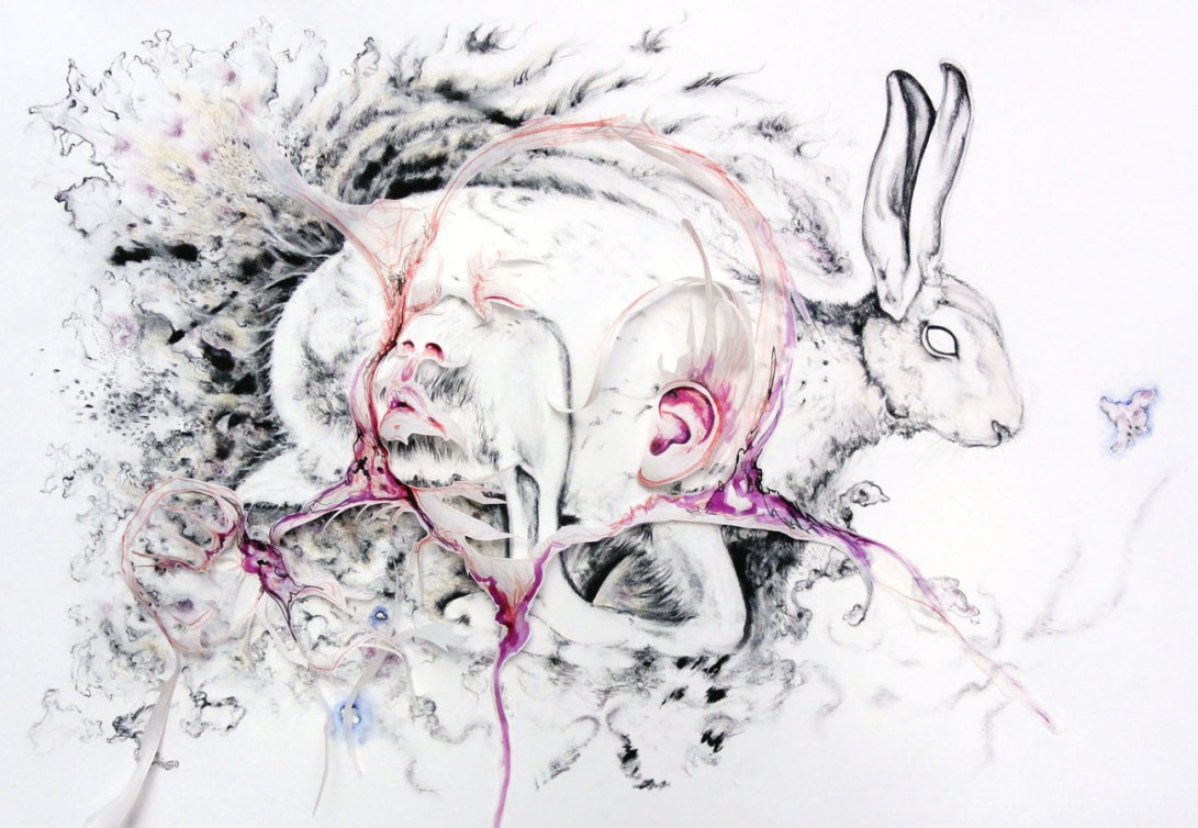 Untitled (a hare and a baby), 122x81cm/48x32inch., charcoal, ink, pencil, collage on paper