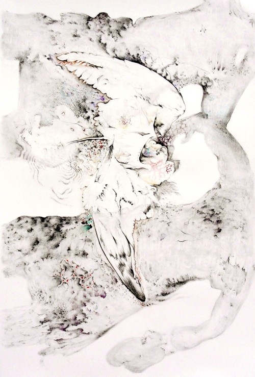 Go to stay, stay to go, 2014, 81x122cm/32x48inch., charcoal, watercolor, ink on paper