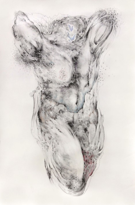 Paradise lost (2), charcoal, pastel on paper