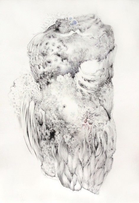 Paradise lost and found (1), charcoal, ink, pastel on paper
