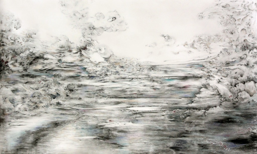 Untitled (water and land), charcoal and pastel on paper
